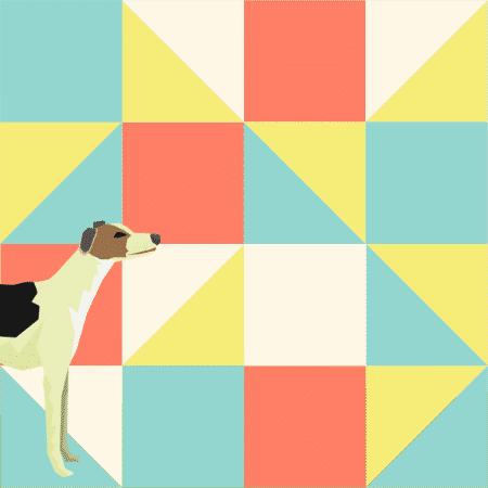 Pauli-koira mosaiikin edessä