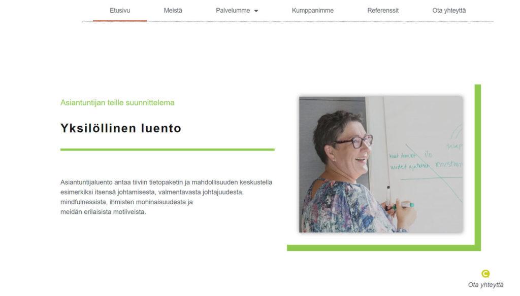 Suomen Coaching Instituutin kotisivut kuva 4