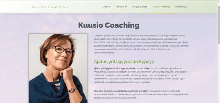 Kuusio Coaching kuva yrityksen sivuista, jossa on Aila Kuusion kuva