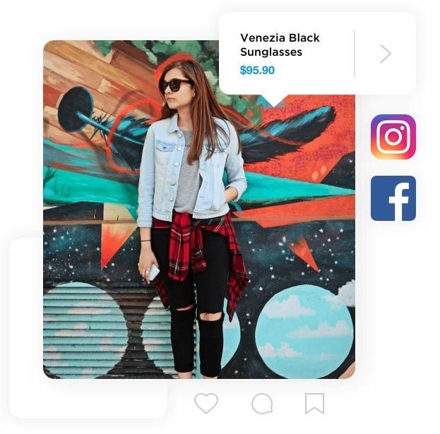 sosiaalisen median kuva verkkokaupan tuotteesta. kuvassa nainen aurinkolasit päässä.