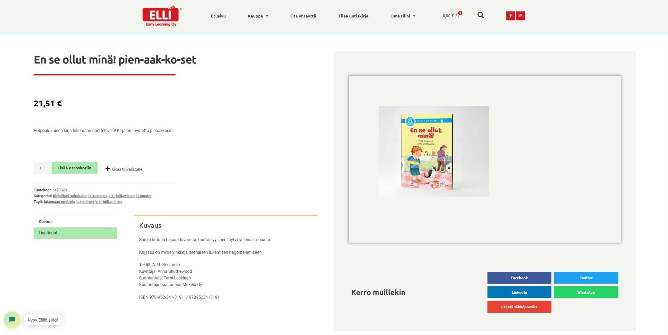 ELLIn verkkokaupan tuotesivun kuva