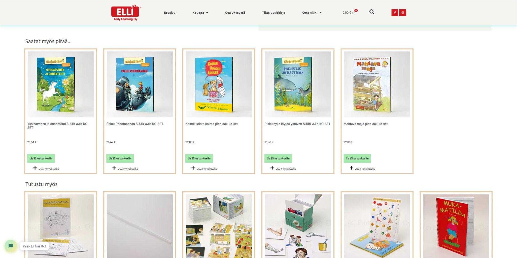 ELLIn verkkokaupan suositeltujen tuotteiden kuva